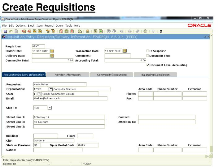 Create Requisitions