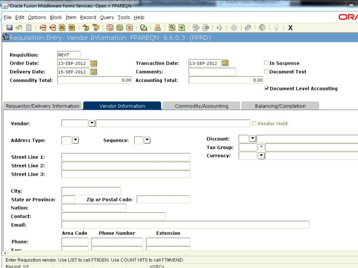 Online requisitions