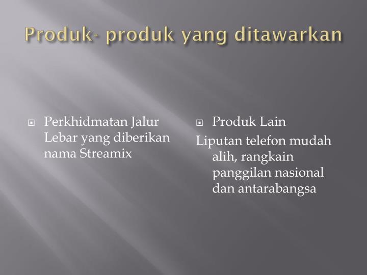 Produk produk yang ditawarkan