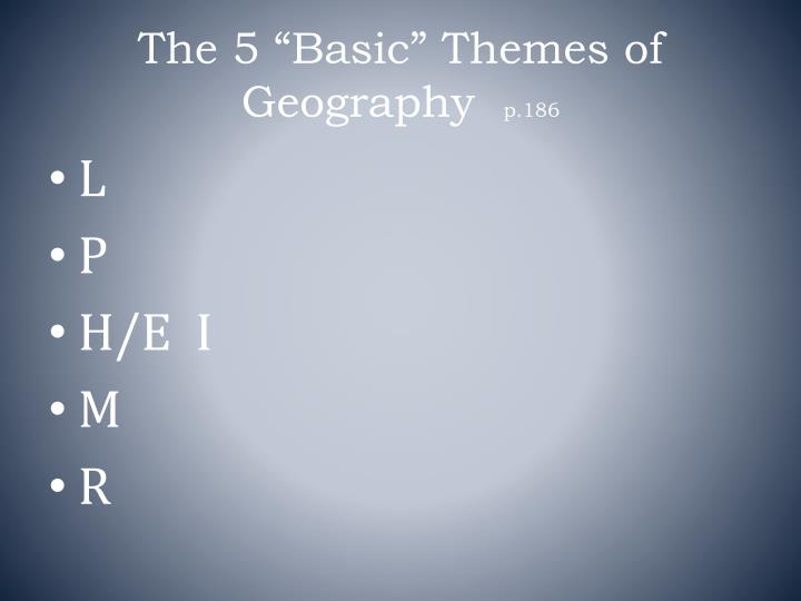 """The 5 """"Basic"""" Themes of Geography"""