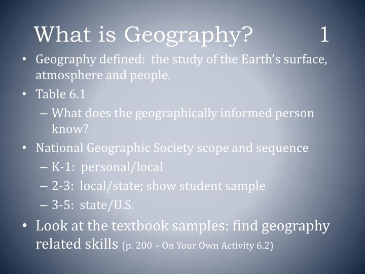 What is geography 1