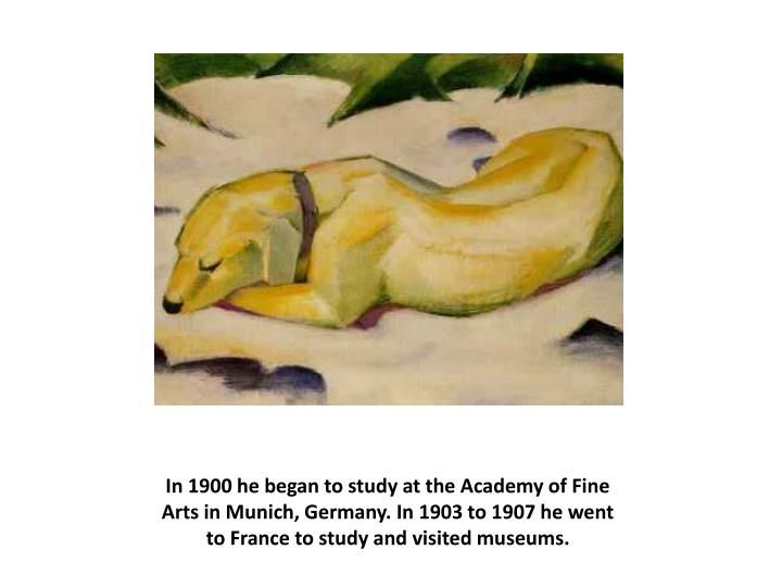 In 1900 he began to study at the Academy of Fine Arts in Munich, Germany. In 1903 to 1907 he went to France to study and visited museums.