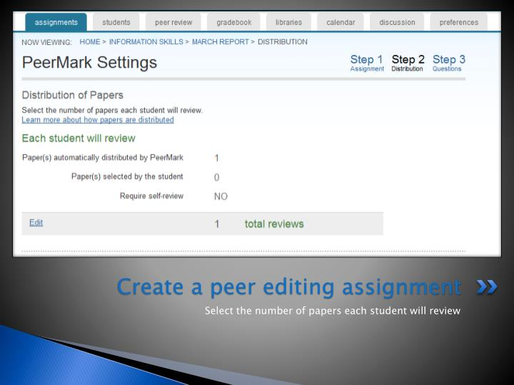 Create a peer editing assignment