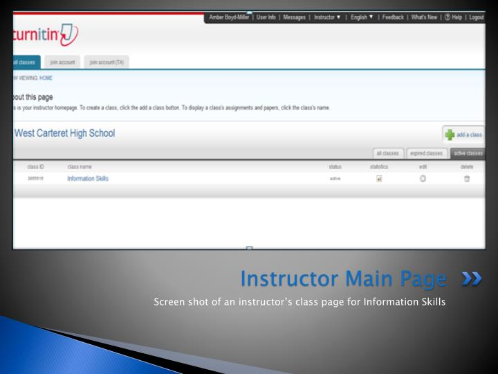 Instructor main page