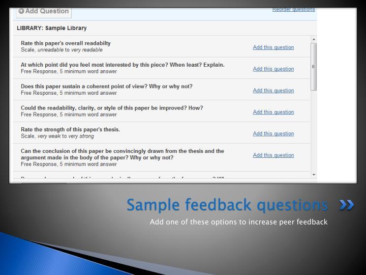 Sample feedback questions
