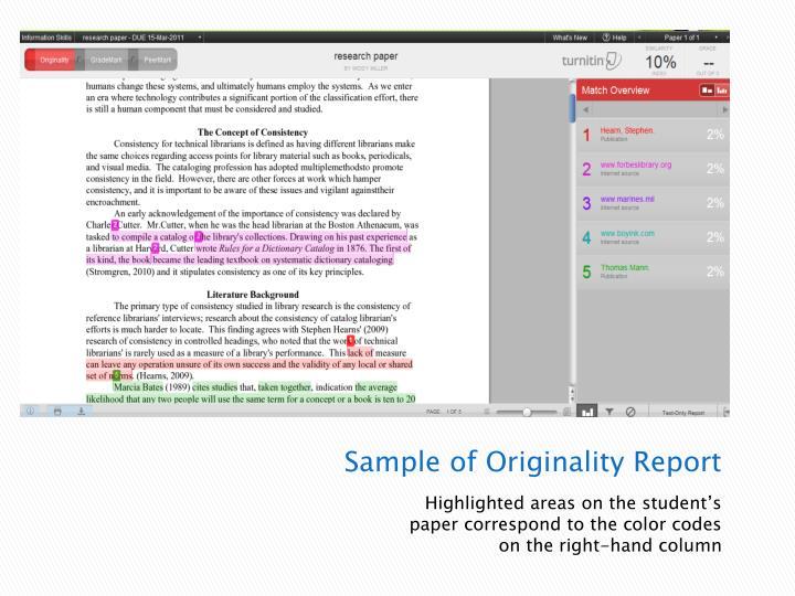 Sample of Originality Report