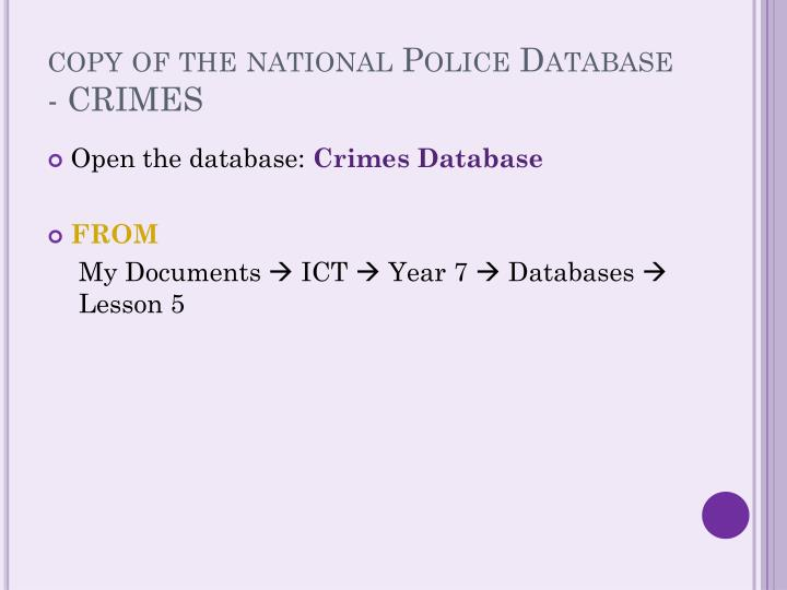 copy of the national Police Database - CRIMES