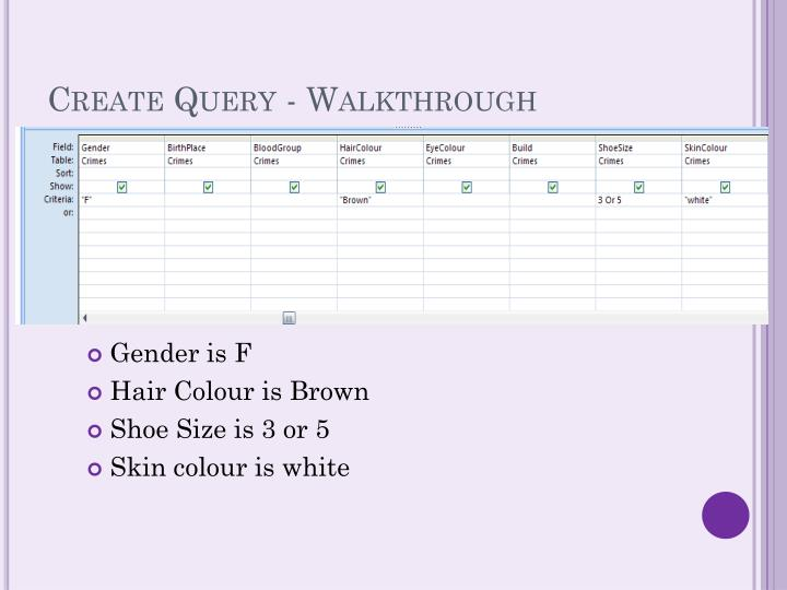 Create Query - Walkthrough