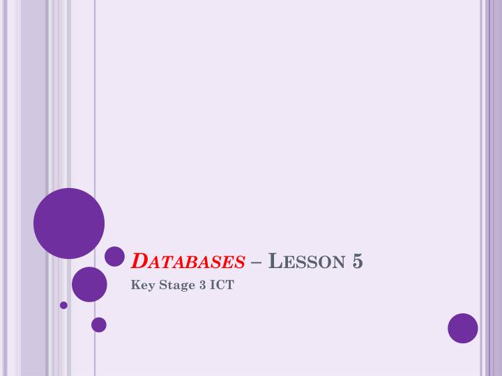 Databases lesson 5