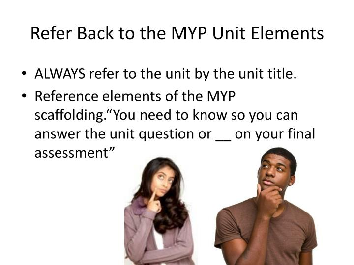 Refer Back to the MYP Unit Elements