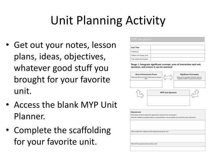 Unit Planning Activity