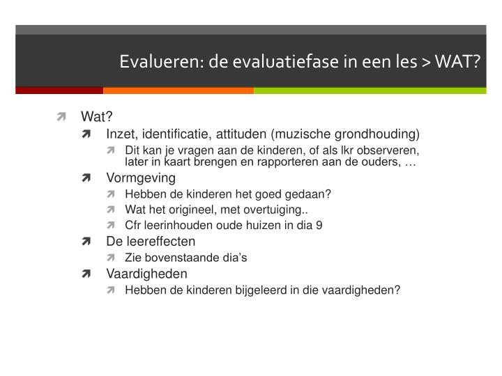 Evalueren de evaluatiefase in een les wat