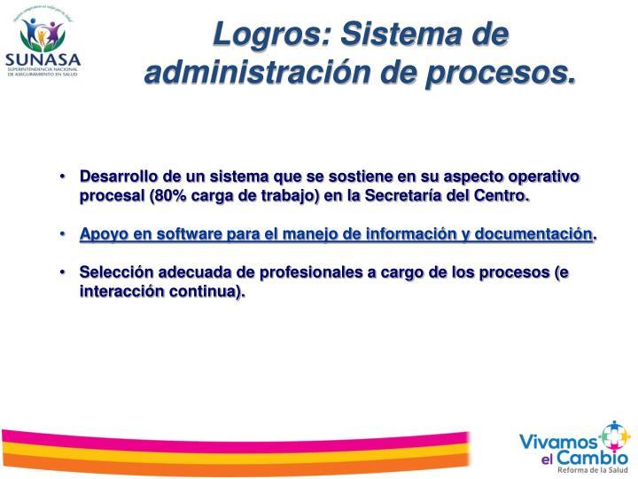 Logros: Sistema de administración de procesos.