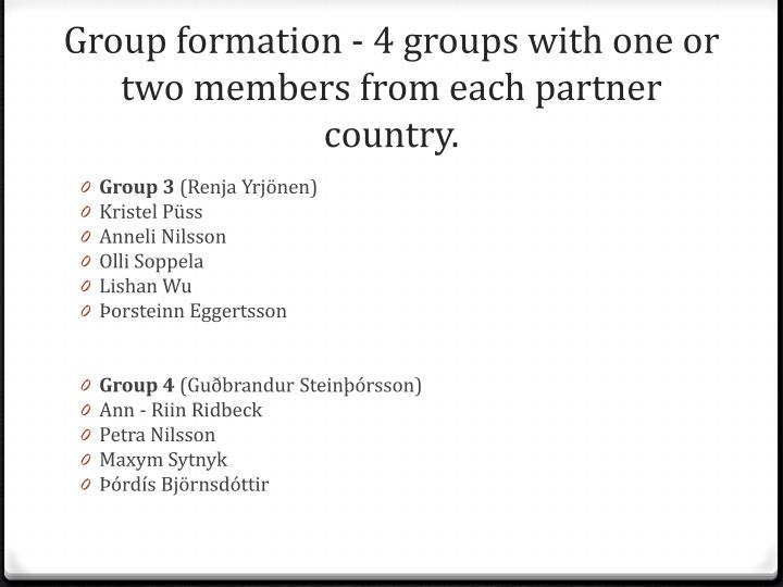 Group formation 4 groups with one or two members from each partner country1