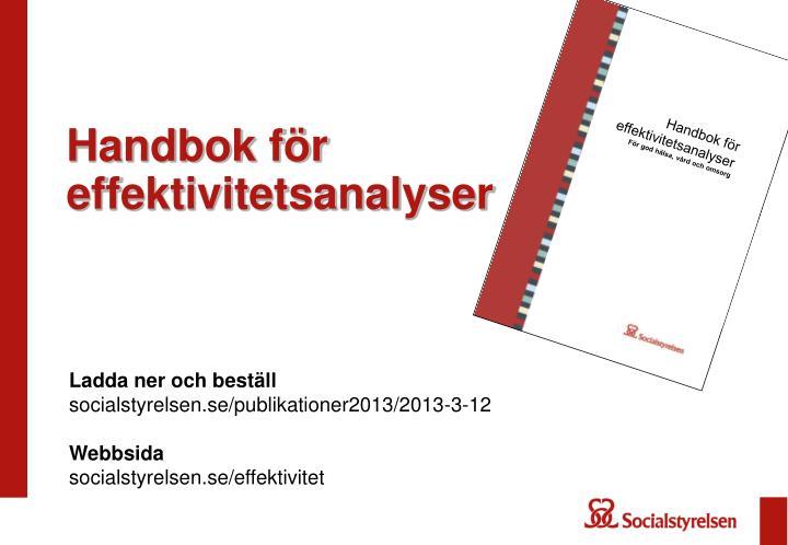 Handbok f r effektivitetsanalyser