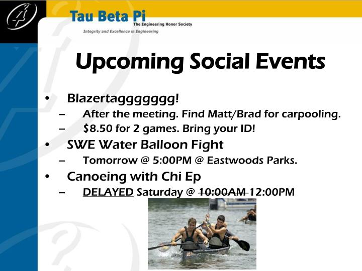 Upcoming Social Events