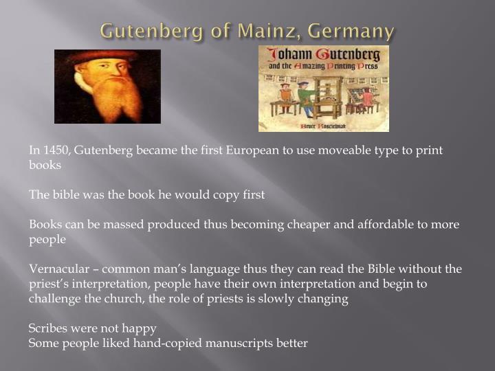 Gutenberg of Mainz, Germany
