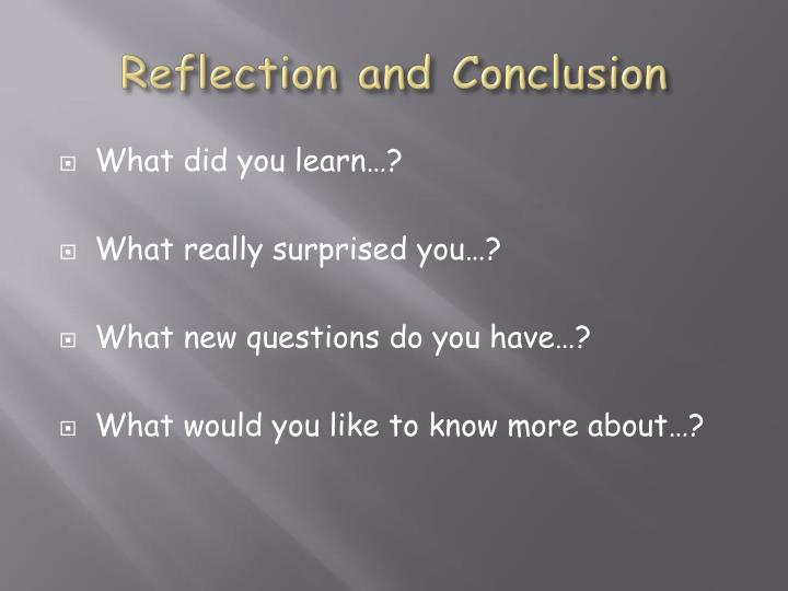 Reflection and Conclusion