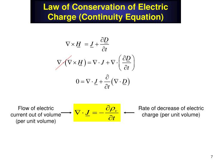 Law of Conservation of Electric Charge (Continuity Equation)