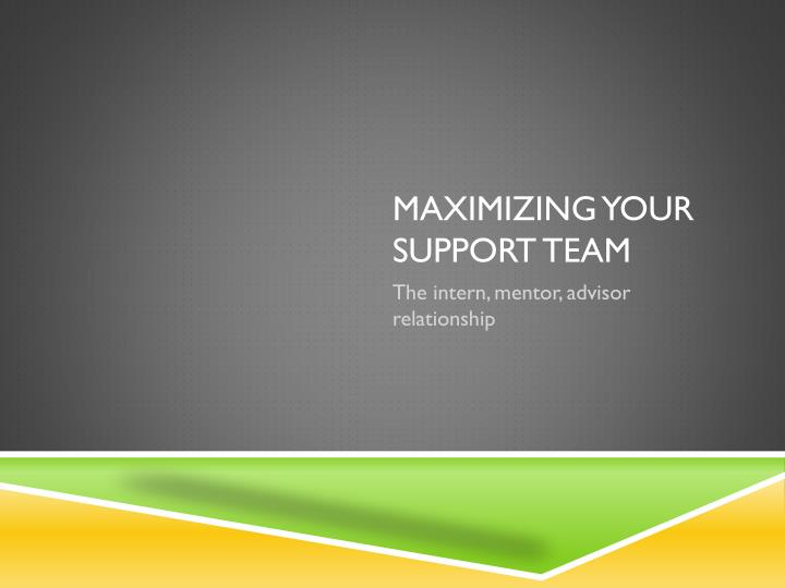 maximizing your support team n.