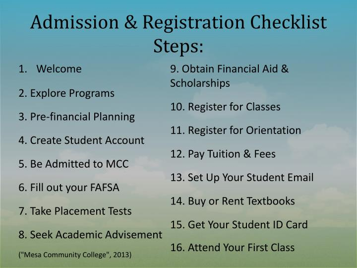 Admission & Registration Checklist Steps: