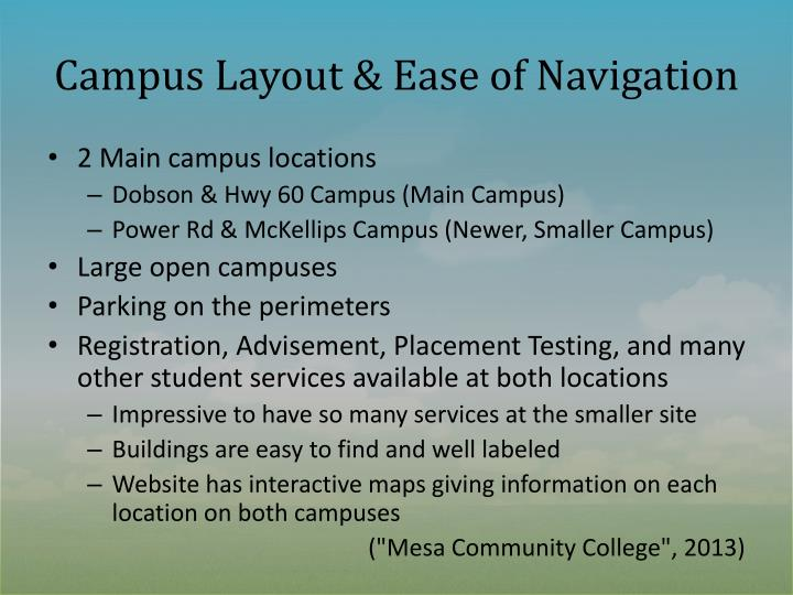 Campus layout ease of navigation