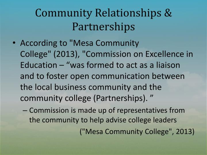 Community Relationships & Partnerships