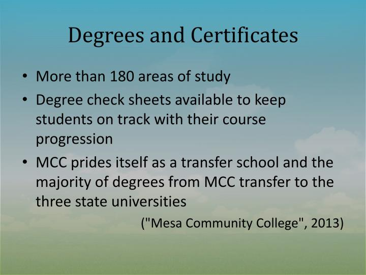 Degrees and Certificates