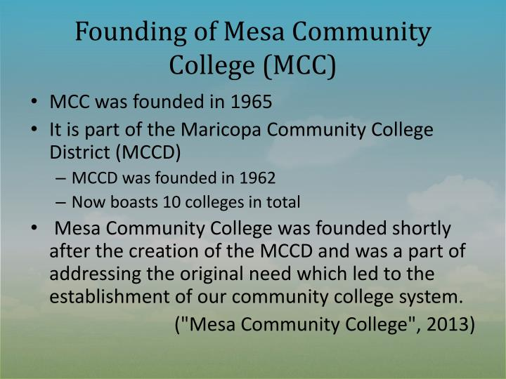 Founding of mesa community college mcc
