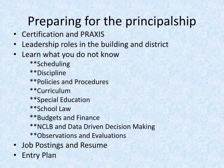 Preparing for the principalship