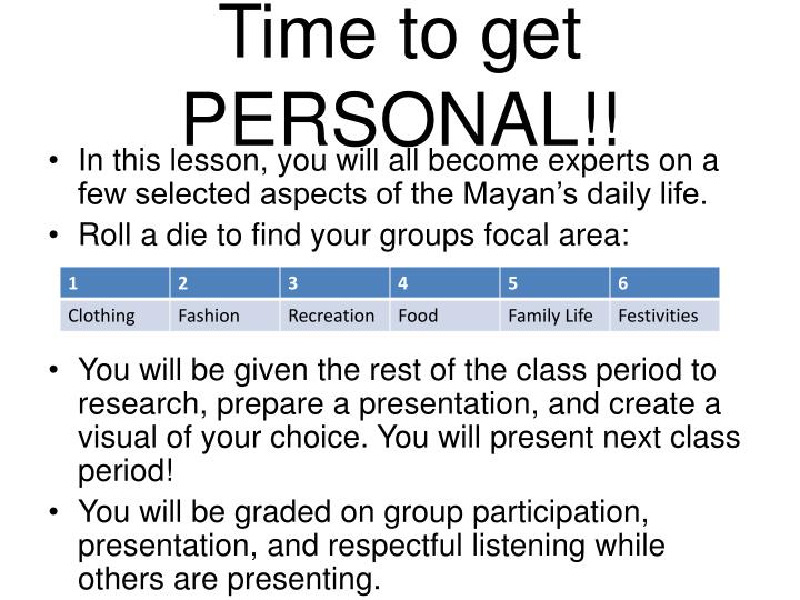 Time to get PERSONAL!!