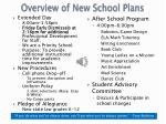 overview of new school plans