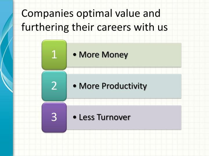 Companies optimal value and furthering their careers with us