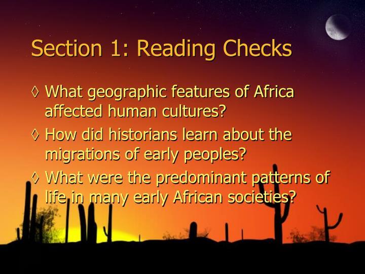 Section 1: Reading Checks