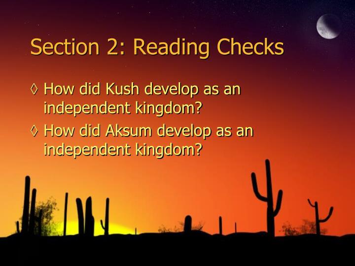 Section 2: Reading Checks