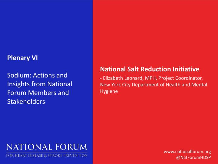Plenary vi sodium actions and insights from national forum members and stakeholders