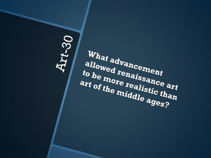 What advancement allowed renaissance art to be more realistic than art of the middle ages?