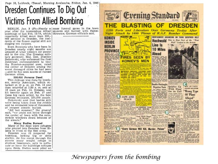 Newspapers from the bombing