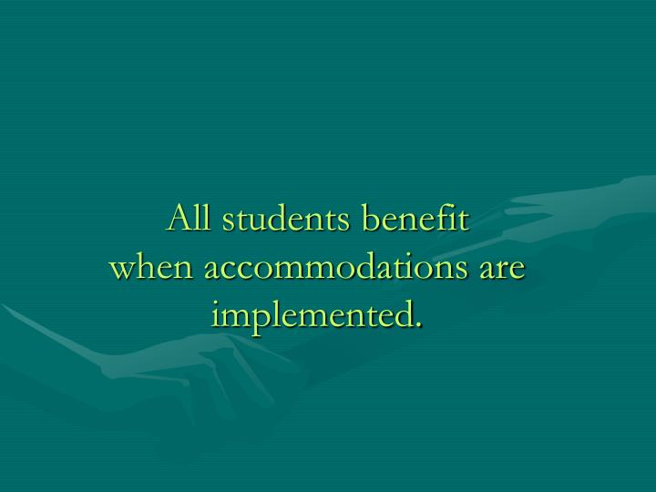 All students benefit