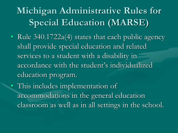 Michigan Administrative Rules for Special Education (MARSE)