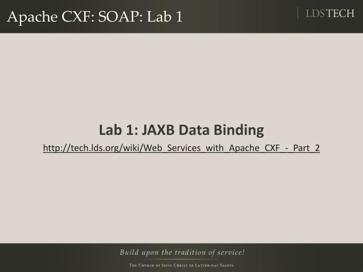 Apache CXF: SOAP: Lab 1