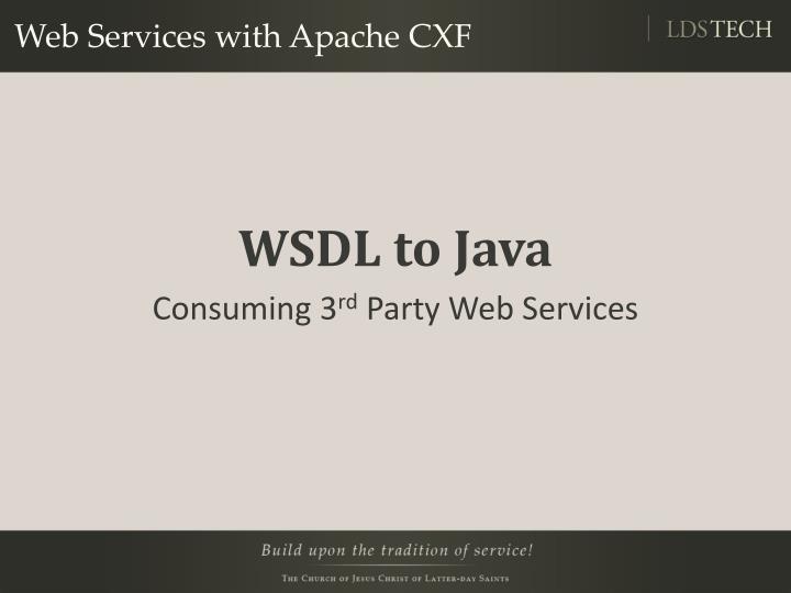 Web Services with Apache CXF