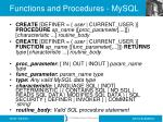 functions and procedures mysql