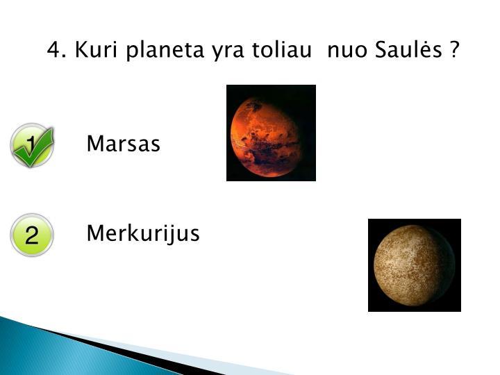 4. Kuri planeta yra toliau  nuo Saulės ?