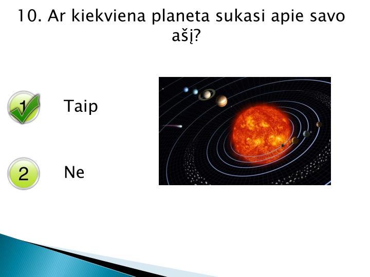 10. Ar kiekviena planeta sukasi apie savo ašį?