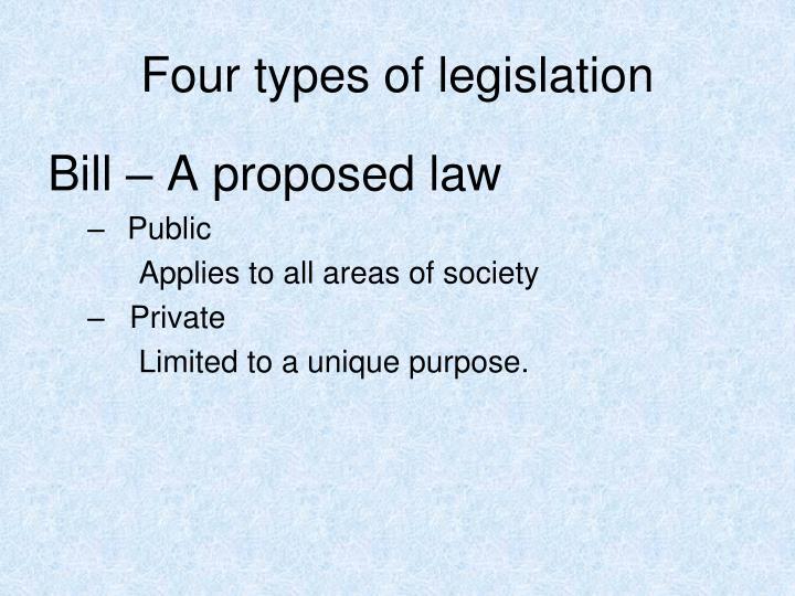 Four types of legislation