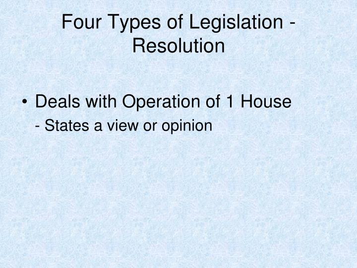 Four Types of Legislation - Resolution