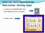 starting with kidspiration main screen starting steps