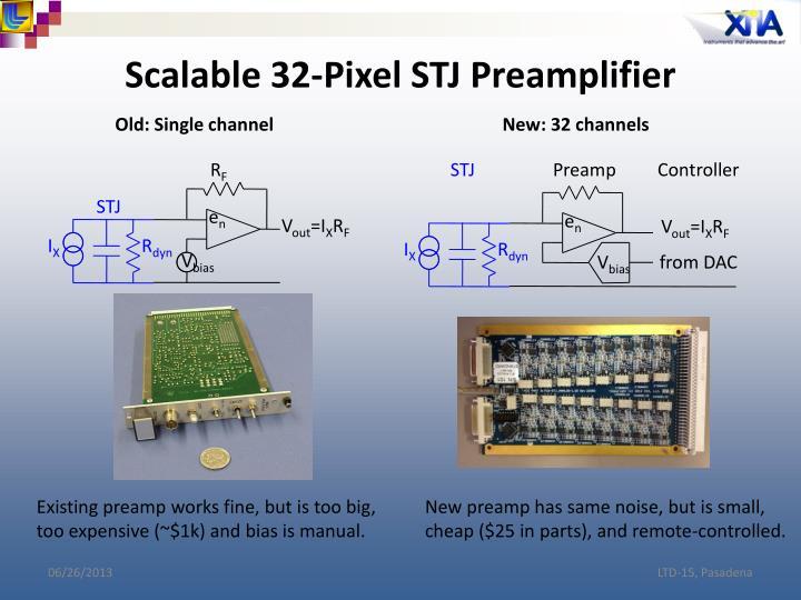 Scalable 32-Pixel STJ Preamplifier