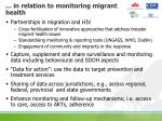in relation to monitoring migrant health